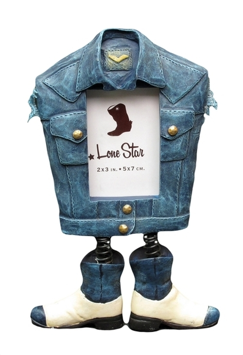 Denim Jacket Photo Frame with Boots