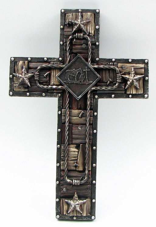 Western Resin Wall Cross Rustic Cabin Lodge Religious Country Home Decor: home decor wall crosses