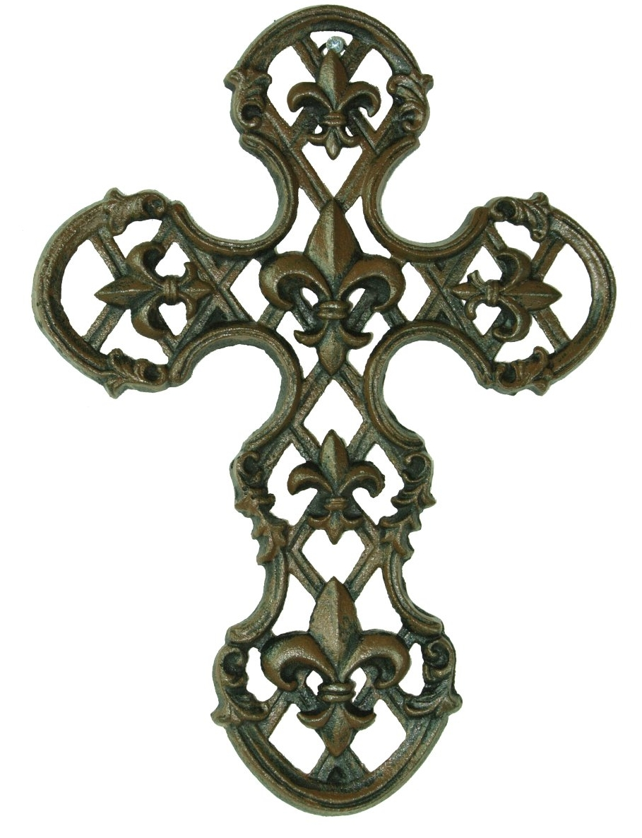 Cast Iron Fleur De Lis Wall Cross Rustic Home Decor Ebay
